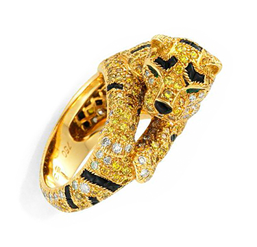 A Colored Diamond, Emerald and Onyx Tiger Ring, by Cartier