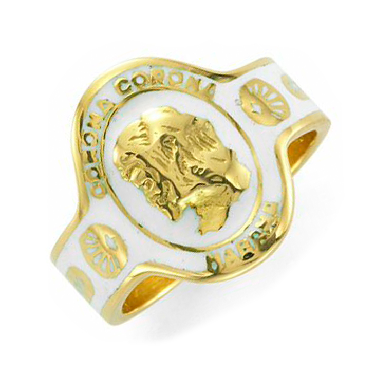 An Enamel and Gold Cigar Band Ring, by Cartier