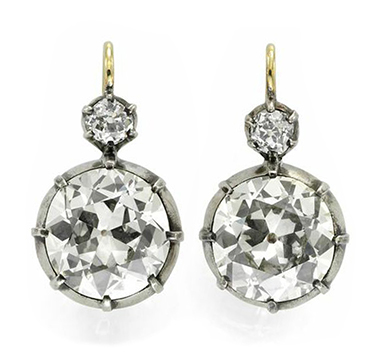 A Pair of Old European-cut Diamond Ear Pendants, weighing approximately 13.46 carats total, set within a silver and gold frame