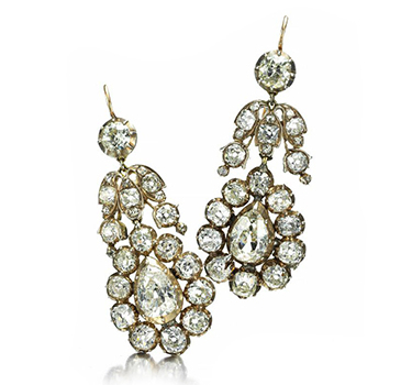 A Pair Of Georgian Diamond Ear Pendants