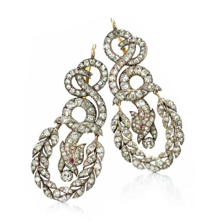 A Pair of Late 19th Century Diamond Ear Pendants