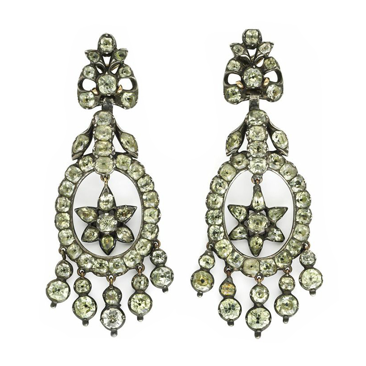 A Pair of 18th Century Chrysoberyl and Silver Ear Pendants
