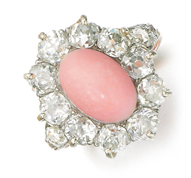An Antique Conch Pearl And Diamond Ring