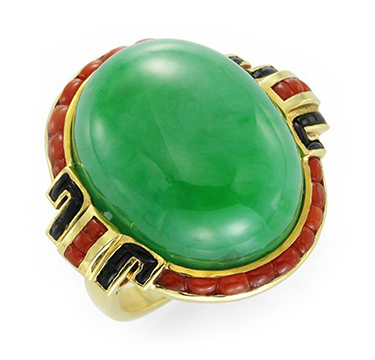 An Art Deco Jade, Coral and Onyx Ring