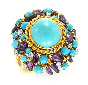 A Turquoise and Amethyst Ring, by Mellerio