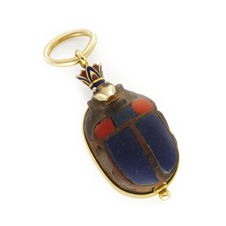 An Egyptian Revival Gold and Enamel Scarab Pendant, by Marcus & Co.