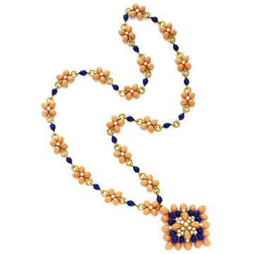 A Lapis Lazuli, Coral and Diamond Sautoir, circa 1970