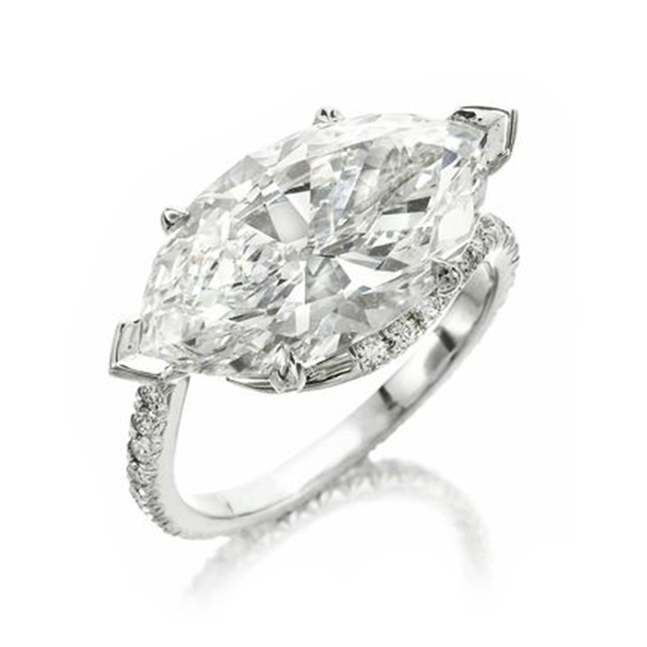 A Diamond Ring, Set with a Marquise-Cut Diamond