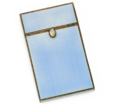An Enamel, Moonstone And Silver Card Case, By Faberge