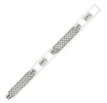A Rock Crystal, Diamond and Platinum Bracelet, by Cartier