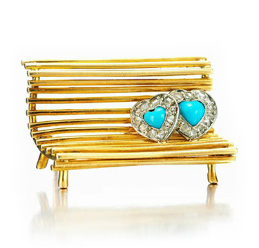 A Turquoise and Diamond 'Lovers on a Bench' Brooch, by Cartier