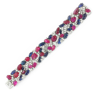 An Art Deco Sapphire, Ruby and Diamond Bracelet