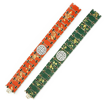 An Art Deco Enamel and Diamond Bracelet, by Verger Freres