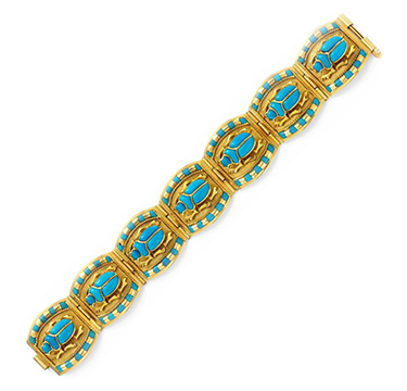 A Gold and Glass Scarab Bracelet, circa 1970