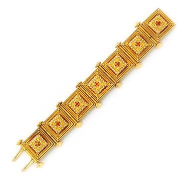 An Antique Enamel and Granulated Gold Renaissance Revival Bracelet, mid 19th Century