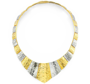 A Textured Bi-colored Gold Collar Necklace, By Gucci, Circa 1970