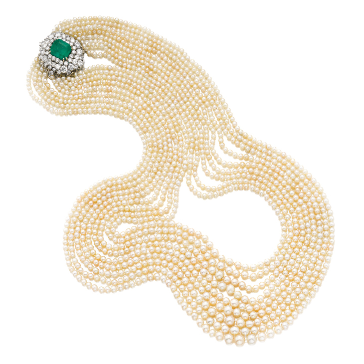 A Natural Pearl, Emerald and Diamond Sautoir Necklace