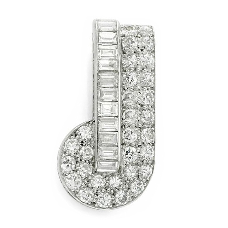 A Platinum and Diamond Brooch