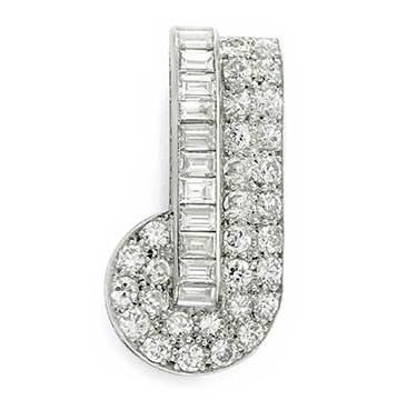 A Platinum and Diamond Brooch