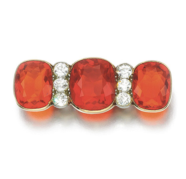 An Antique Fire Opal and Diamond Bar Pin