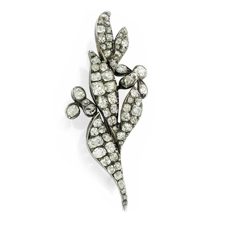 An Antique Old Mine-cut Diamond Leaf Brooch, Early 19th Century
