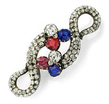 An Antique Sapphire, Ruby and Rose-cut Diamond Brooch, 19th Century