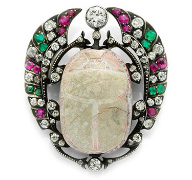 An Antique Ancient Carved Scarab, Emerald, Ruby And Diamond Brooch, Late 19th Century