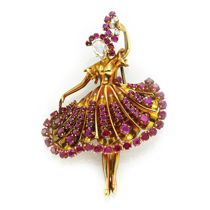 A Ruby and Diamond 'Ballerina' Dancer Brooch, circa 1940