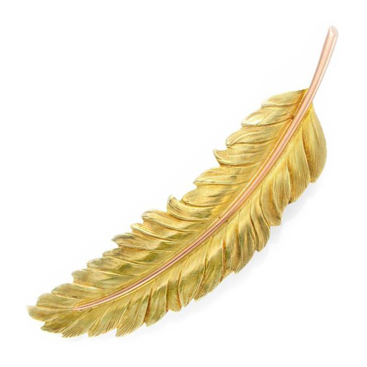 A Textured Bi-colored Gold Leaf Brooch, circa 19th Century