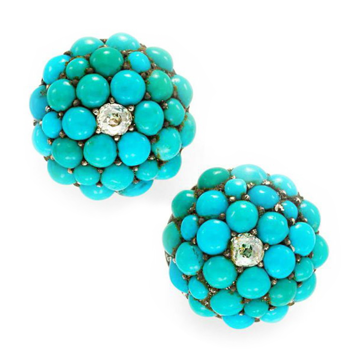A Pair of Antique Turquoise and Diamond Stud Earrings