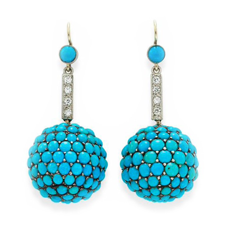 A Pair of Antique Turquoise and Diamond Ear Pendants