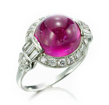 An Art Deco Burmese Pink Sapphire and Diamond Ring