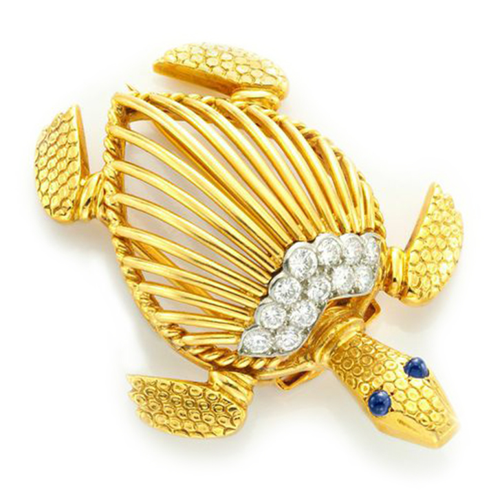 A Cabochon Sapphire, Circular-cut Diamond and Gold Turtle Brooch, by Cartier, circa 1960