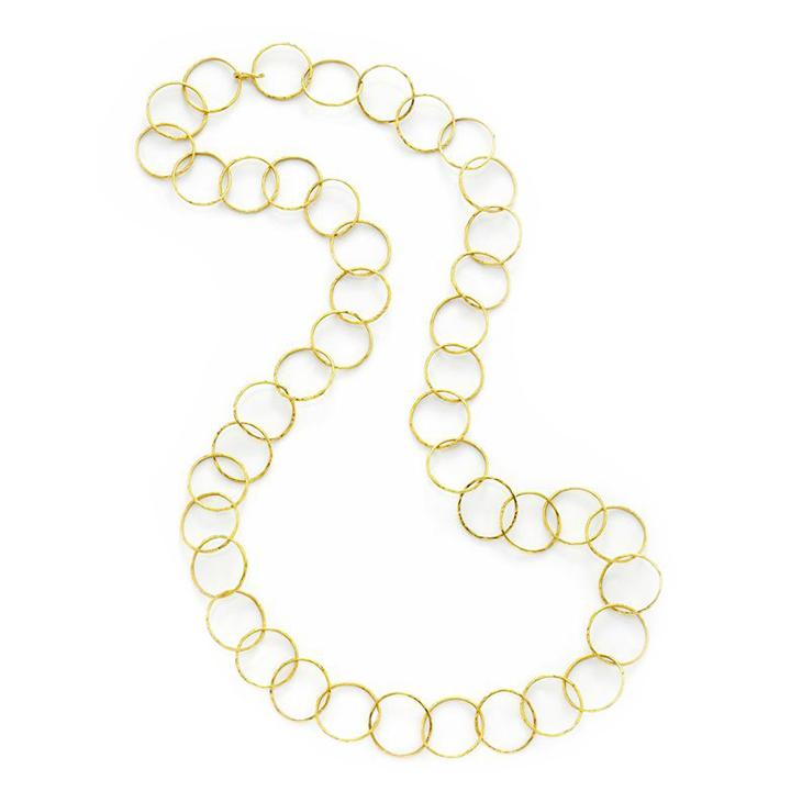 A Textured Gold Circular-link Long Chain Necklace, by Cartier, circa 1965