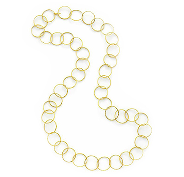 A Textured Gold Circular-link Long Chain Necklace, by Cartier, circa 1965