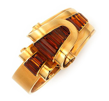 A Retro Citrine And Gold Bracelet, By Cartier, Circa 1940