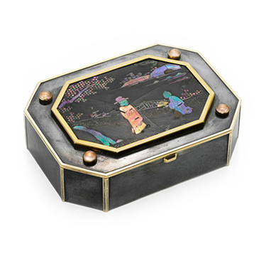 An Art Deco Gold, Silver and Lacquer Chinoiserie Box, by Cartier, circa 1920