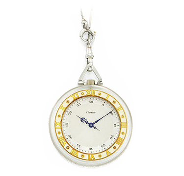 An Art Deco Rock Crystal, Enamel and Rose-cut Diamond Pocket Watch, by Cartier, circa 1920