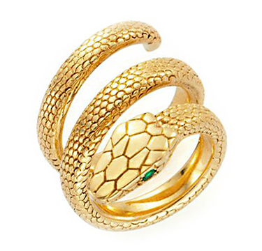 A Sculpted Gold Snake Ring, with emerald-cut eyes, by Cartier, circa 1970