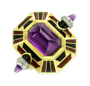 An Amethyst, Diamond and Enamel Ring, by Cartier, circa 1970