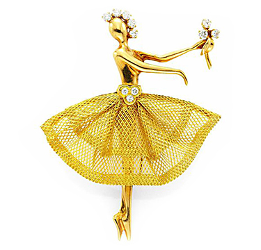 A Gold and Diamond 'Ballerina' Brooch, by Van Cleef & Arpels, circa 1940