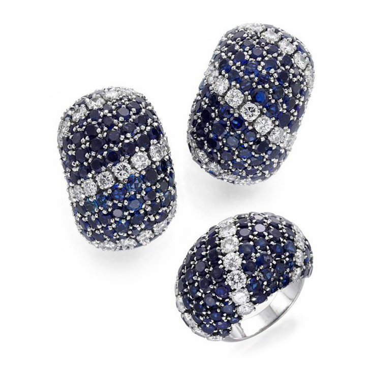 A Set of Sapphire and Diamond 'Pelouse' Jewelry, comprising Ear Clips and Ring, by Van Cleef & Arpels, circa 1965
