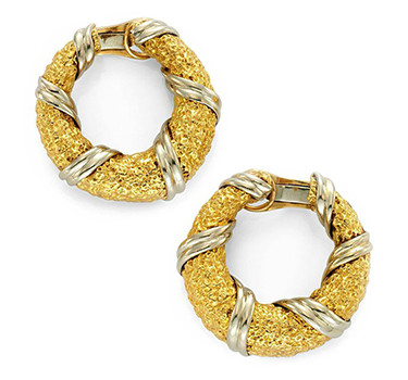 A Pair Of Bi-colored Gold Hoop Ear Clips, By Van Cleef & Arpels, Circa 1970