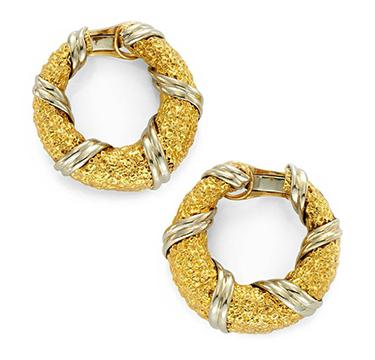 A Pair of Bi-colored Gold Hoop Ear Clips, by Van Cleef & Arpels, circa 1970
