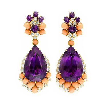 A Pair of Amethyst, Coral and Diamond Ear Pendants, by Van Cleef & Arpels, circa 1960