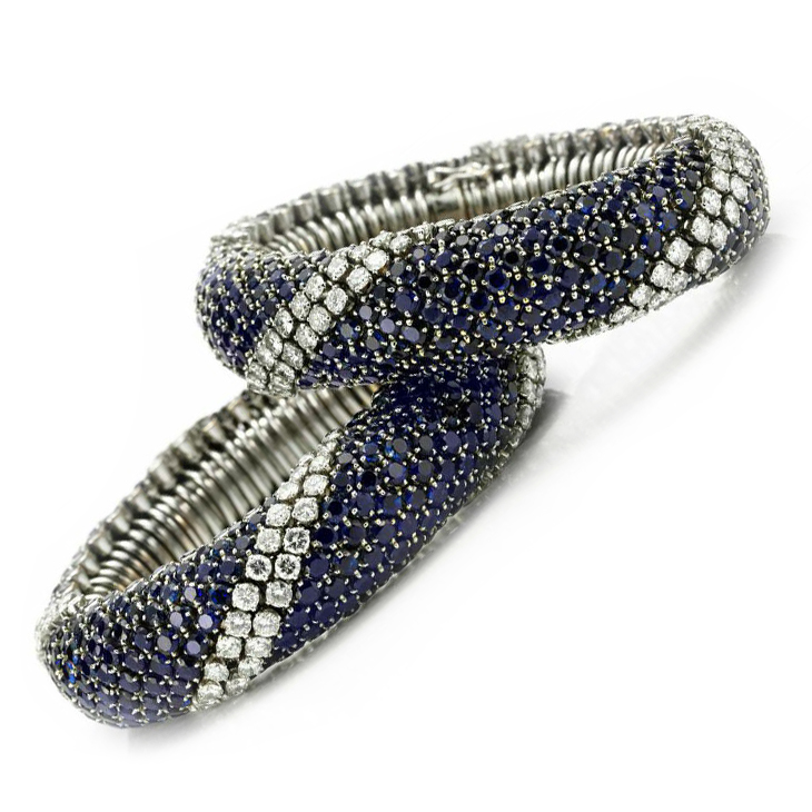 A Pair of Sapphire and Diamond 'Pelouse' Bracelets, by Van Cleef & Arpels, circa 1960