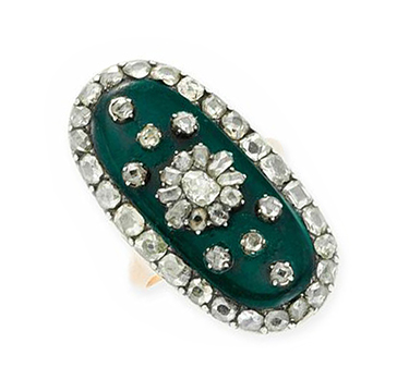 An Antique Green Vitreous and Table and Old Mine-cut Diamond Ring, circa late 18th Century