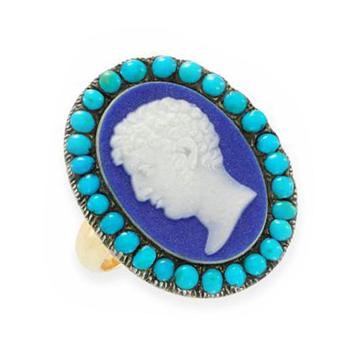 A Georgian Wedgwood Cameo and Turquoise Ring, circa 1800