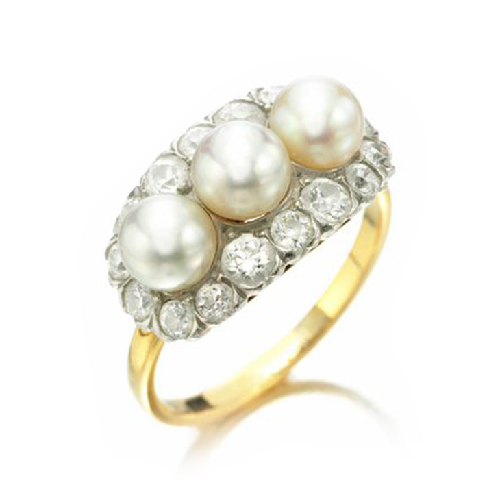 A Natural Pearl and Diamond Ring, by Tiffany & Co., circa 1900