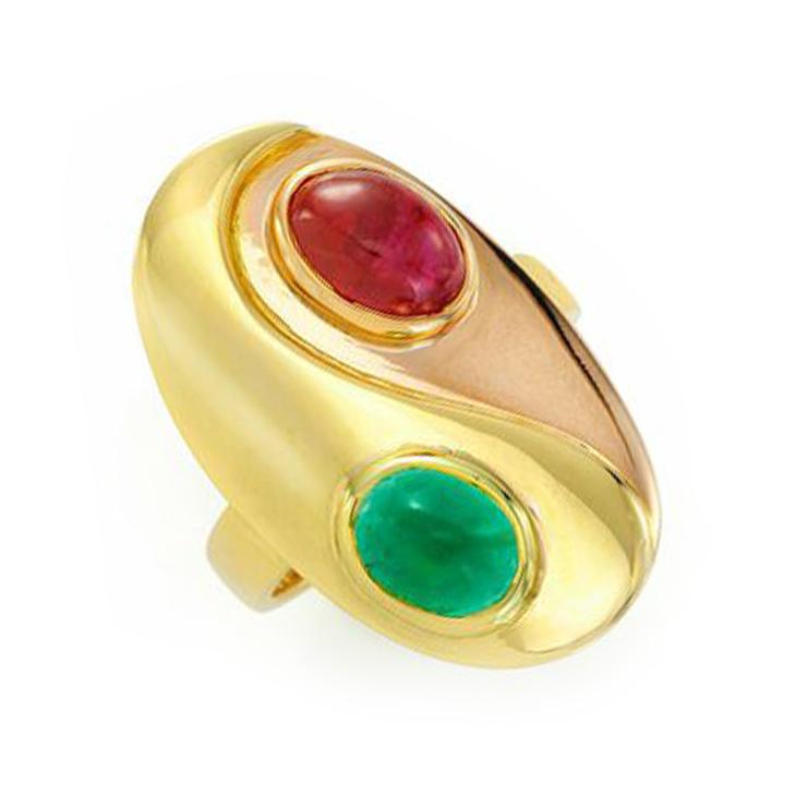 A Bi-colored Gold, Cabochon Ruby and Emerald Ring, by Bulgari, circa 1970